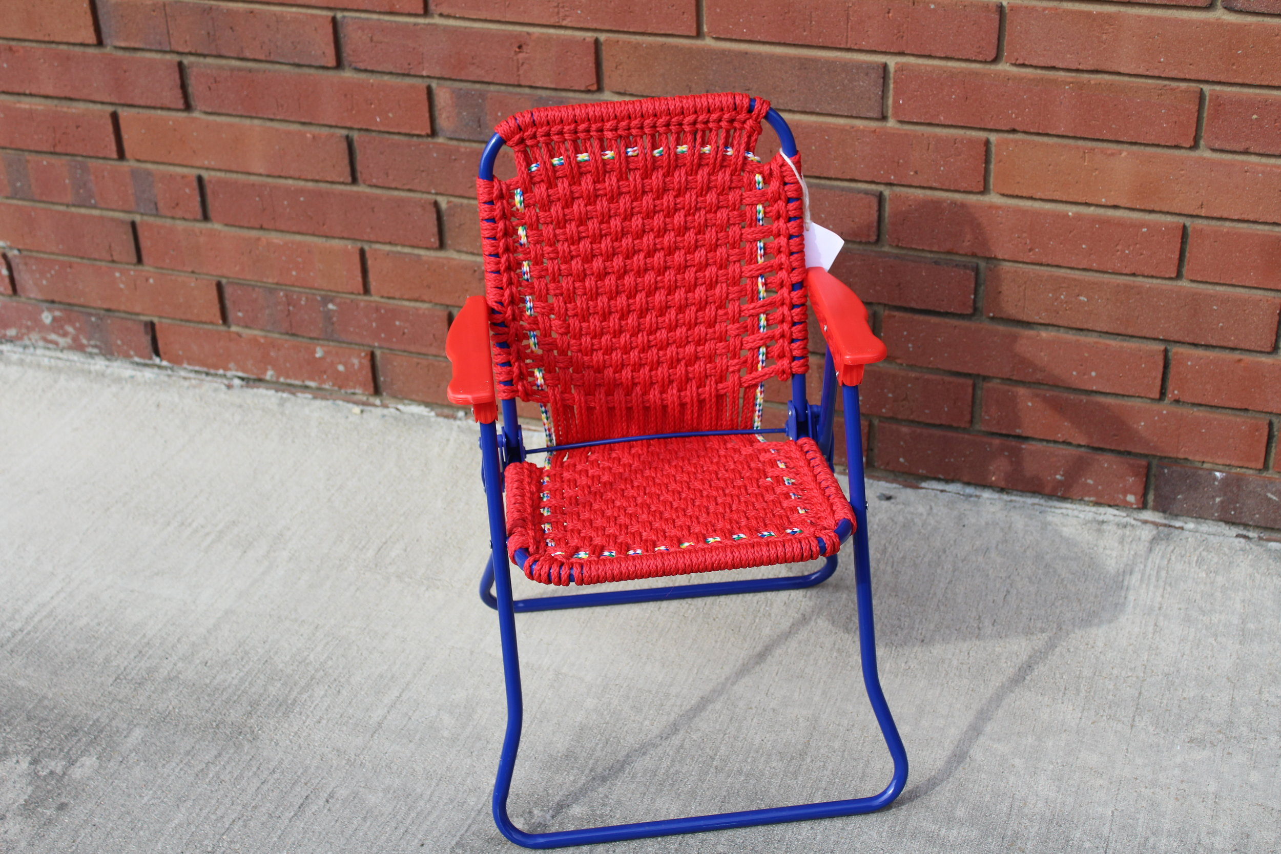 Child's Lawn Chair -- Solid Red Basketweave Pattern with Circus Trim