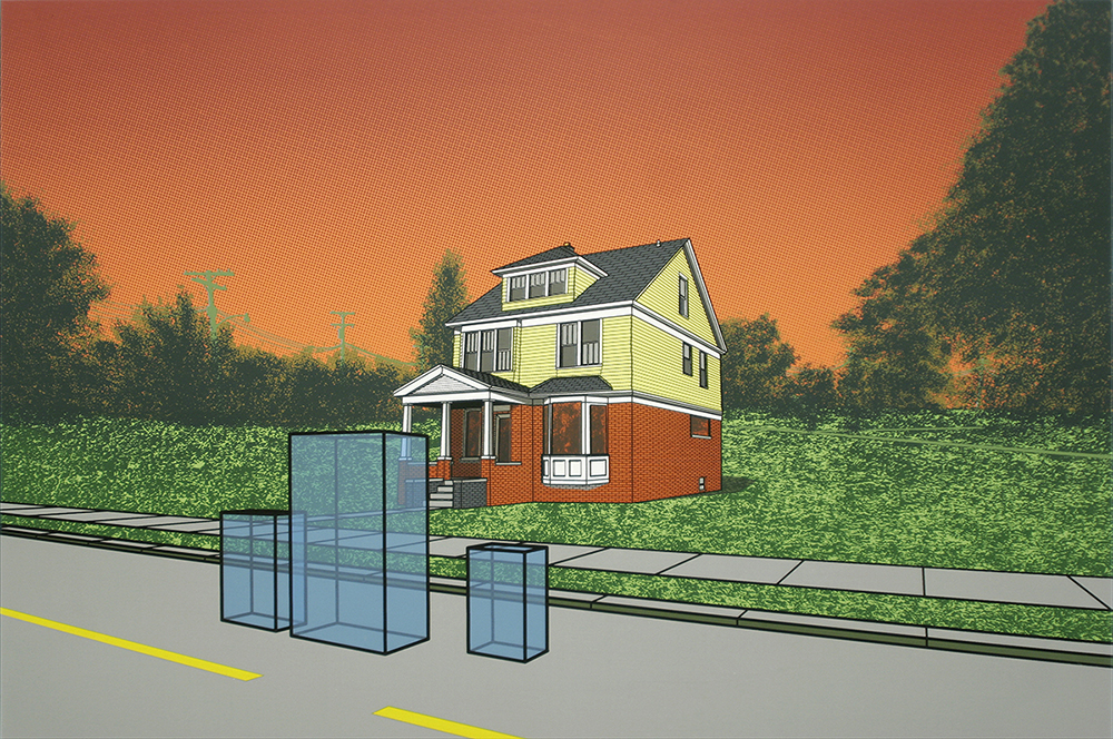 "Christopher Cannon,  Runaways on Hunt Street , 20"" x 30"", screenprint, 2012"