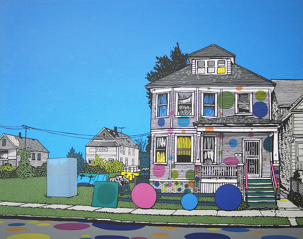 "Christopher Cannon,  Dot House , 10"" x 12.5"", Screenprint, 2014"