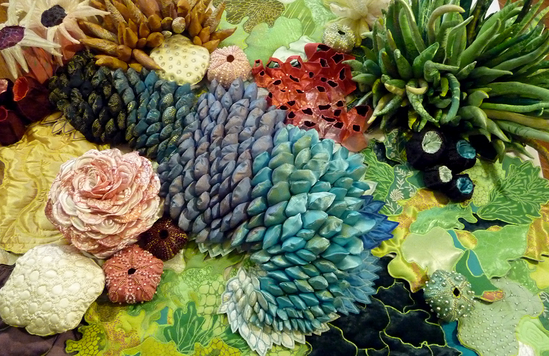 Lauren Kussro,  The Reef,  Silkscreen on fabric, installations, variable size, 2016