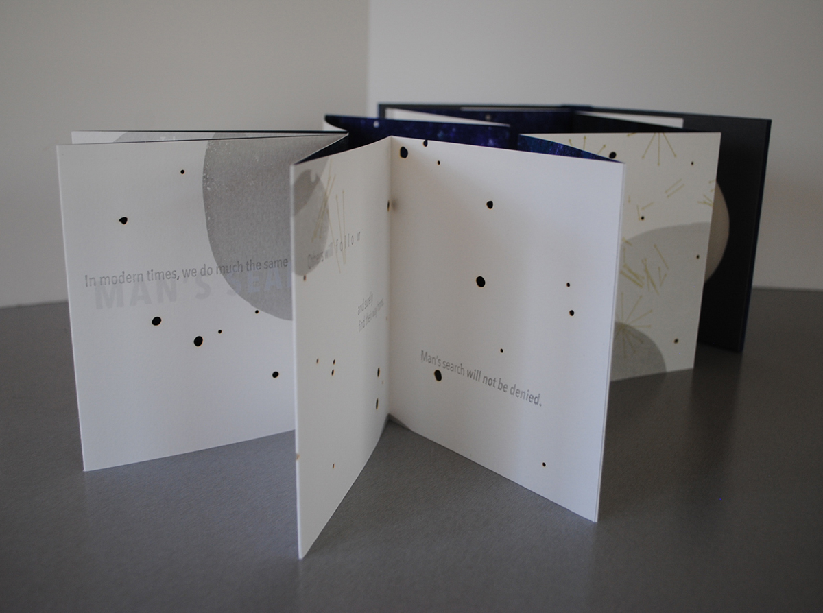 "Melissa Wagner-Lawler,  In the Event of Moon Disaster,  Screenrpint letterpress and laser cutting on Rives BFK, Artist Book, 5.25"" x 5.5"", 2014"