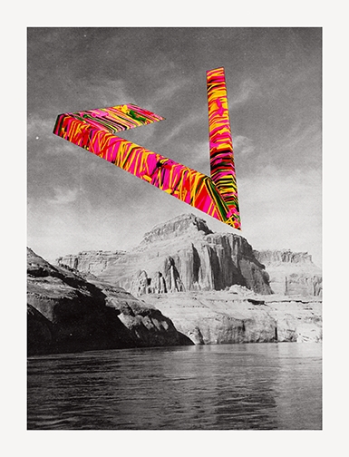 "Schoolhaus ( Matt Pariseau, Artist),  Flying V , acrylic screenprint on paper, 26"" x 34"""