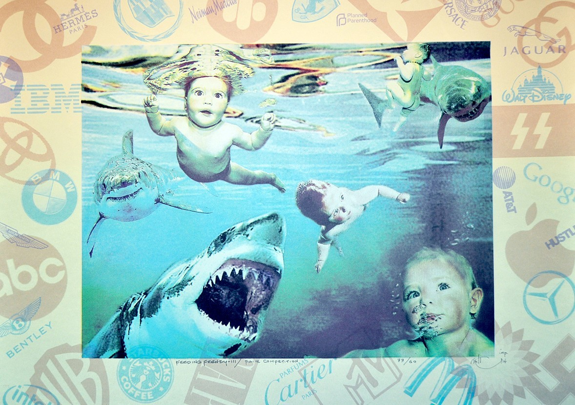 "Feeding Frenzy III / Fair Competition , photo - serigraph, Corporate America Series, 22"" x 30"""