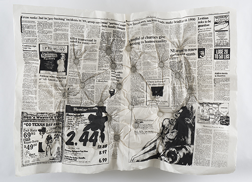 "Amy Cousins,  All The Queerness That's Fit to Print: The Houston Chronicle 1990 , 58"" x 47"" x 7"", screenprint on mulberry paper made from articles assembled from the artist's hometown paper, buttons, upholstery foam, and wood, 2016."