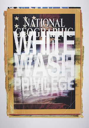 "Briar Craig,  WHITE WASH PRIVILEGE , 41"" x 28.5"", ultra-violet screen print, 2017"