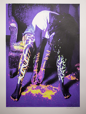 "Dadisi Curtis,  Efflictim's Anguish , 30"" x 22"", Serigraphy Halftone CMYK, Acrylic ink on Arnhem 1618, 2017"
