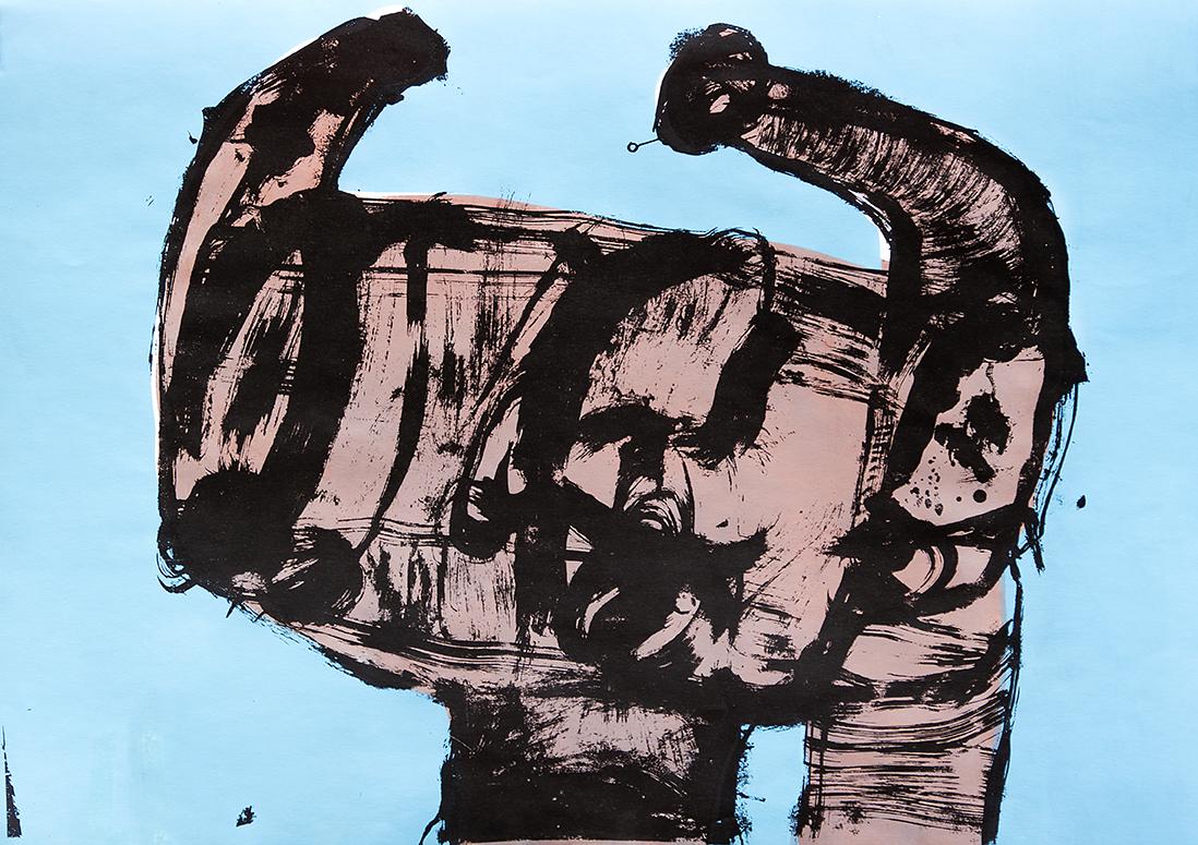 Stanislaw Cholewa,  Poses 5 , silkscreen, 100 x 70 cm, 2017