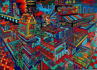 "Robert Schwieger, Factory Fantasy, 20"" x 16"", Screenprint monotype on glass reverse applied with enamels, 2013"
