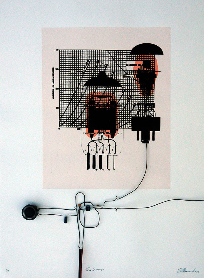 Tube Screamer , Mixed media (screenprint with conductive ink, electronics), 2014