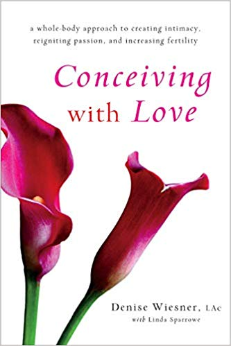 """""""Conceiving with Love"""" a book by Denise Wiesner about the relationship between fertility and sexuality. Image shows the cover of the book with pink flowers."""