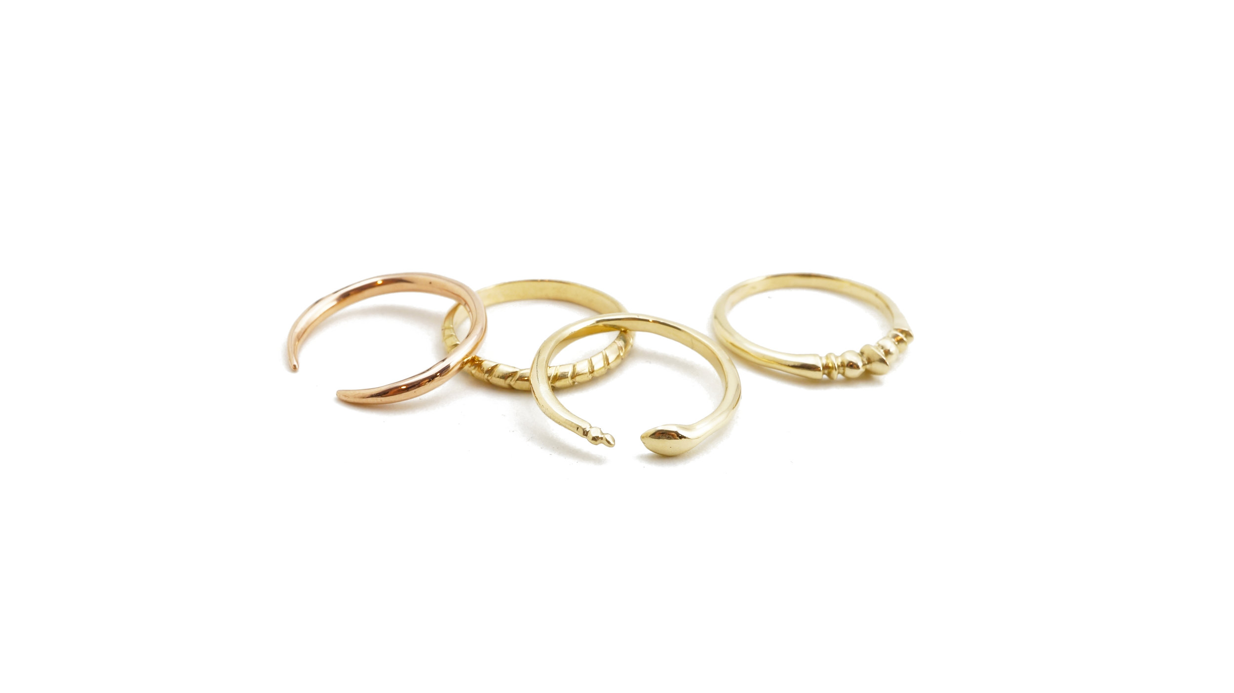 14k gold stacking rings by Archerade