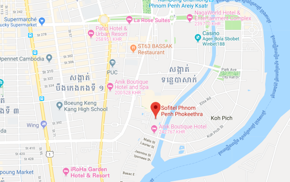 Le Sofitel Phnom Penh Phokeethra***** - 26 Old August Site Sothearos Boulevard Sangkat Tonle Bassac, Phnom PenhTel: (+855) 23 999 200Fax: (+855) 23 999 211E-mail: h6526@sofitel.com