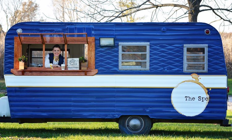 The Spot Coffee Co. is a small business located in Peoria, Illinois. - You can find us at our brick and mortar café (established in February 2018 just north of Route 6 on North Knoxville) or you can track down our trailer for a unique mobile coffee experience.The Spot Coffee actually began in October 2016 inside a tiny blue vintage camper. Owner Sara Skolaski and her husband, Ryan, poured lots of labor and love into this mobile café, and they are passionate about (and grateful for) the business they've created.