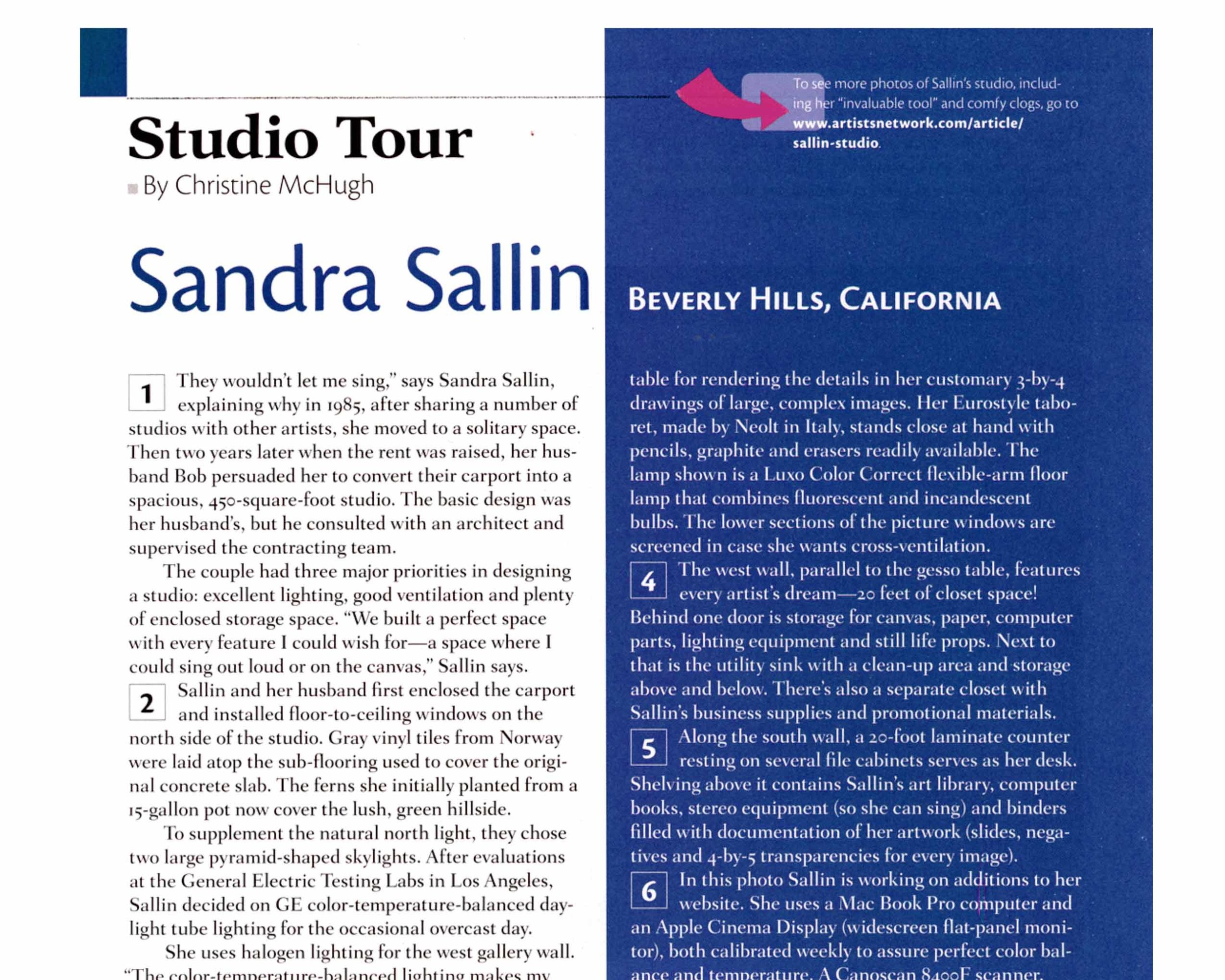 Studio Tour featured in Artists Magazine - September, 2008