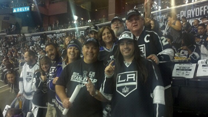 Game 4 Stanley Cup Finals with the 216 section family. — with  Carrie Gomar ,  Chris Gomar ,  Kurt White ,  Janis Mullen ,  Bill Gemberling  and  Tom Mullen at  LA Kings Game @ Staples Center .
