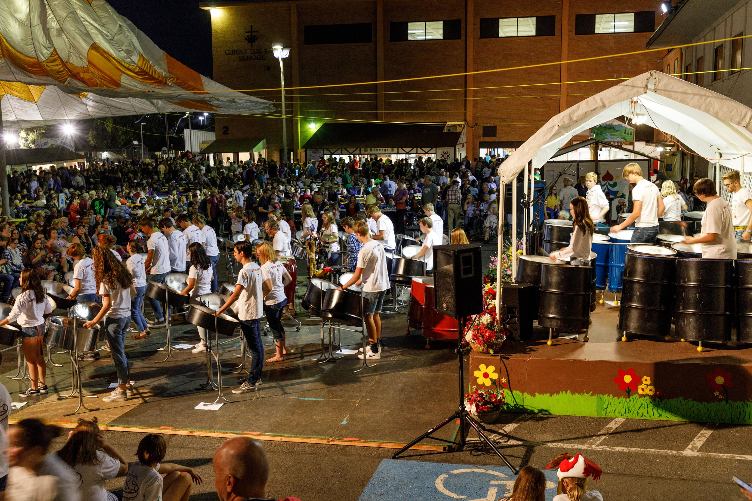 Students from local marimba bands perform on the main stage
