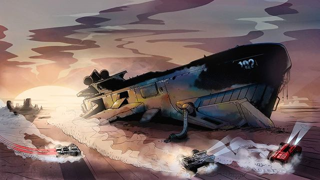 Continuing our celebration of comic-inspired loading screens from @adam_szary . #GRIPCombatRacing #conceptart #gameart #digitalart #comicbooks #comics #comic #videogame #gaming