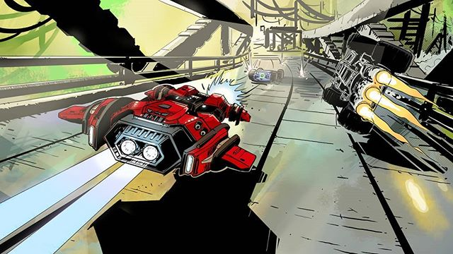 Another great piece of comic art from @adam_szary for GRIP's big Airblade patch last month. Should we keep posting the loading screens? 👍👎 . #GRIPCombatRacing #conceptart #comicbook #comics #art #gameart #wallpaper #videogame #ps4 #XboxOne #NintendoSwitch