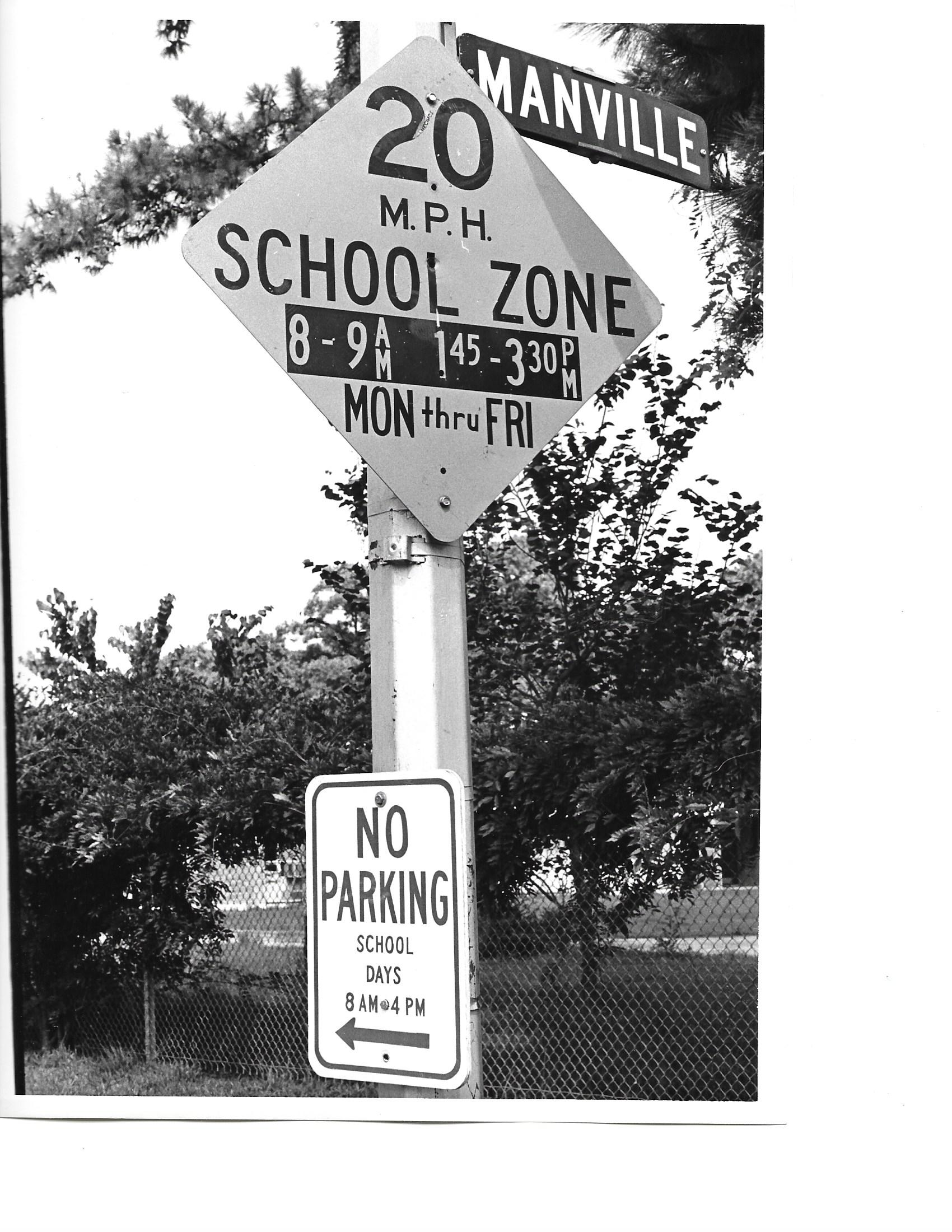 Back to School - September, 1967: New school zone signs are installed at Manville and Grovewood, next to Sinclair Elementary. City Council approved the signs to ensure students' safety for the new school year.