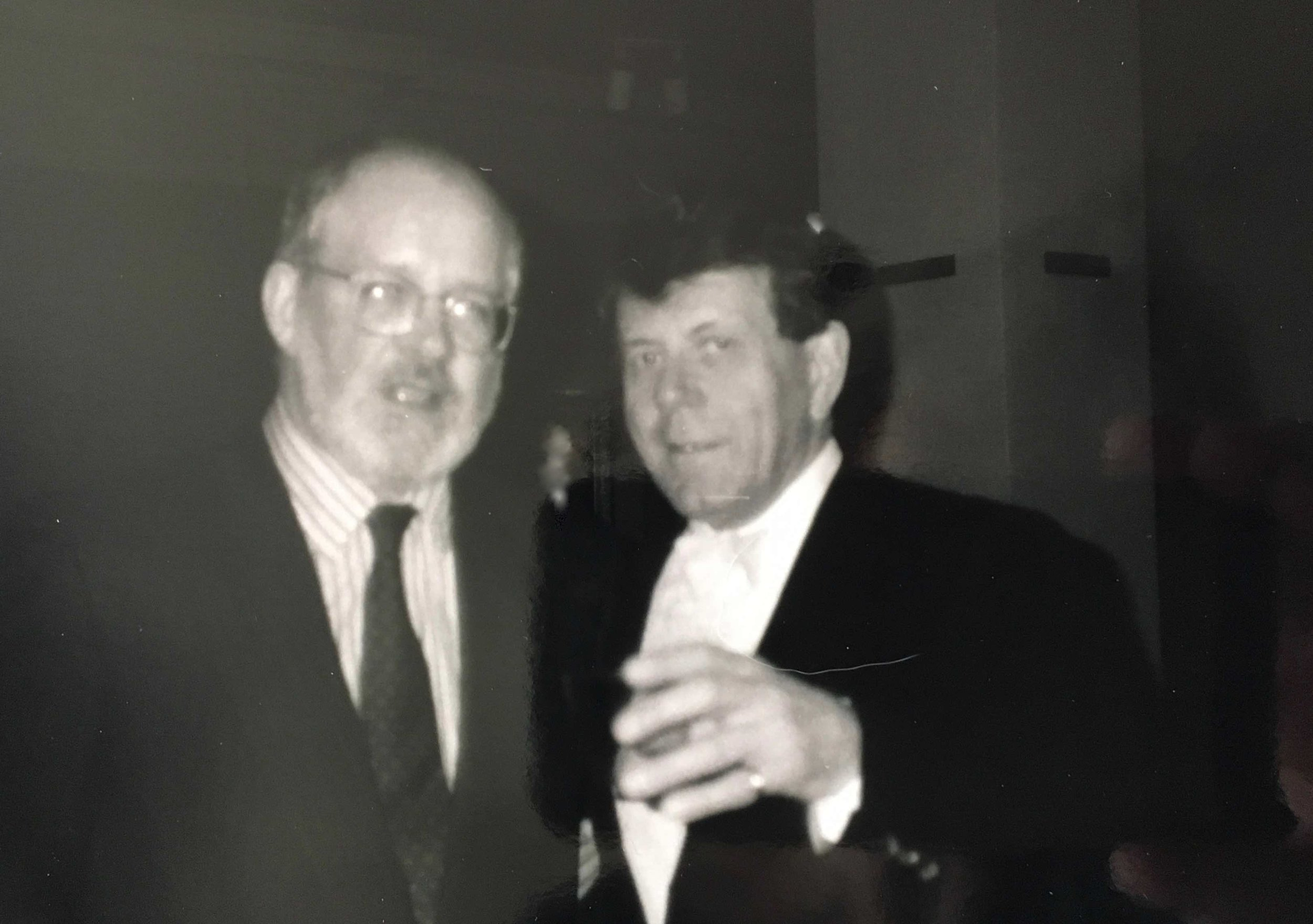 Nicholas Maw and Raymond Leppard, Indianapolis IN, at US premiere of Nick's tone poem,  The World in the Evening .