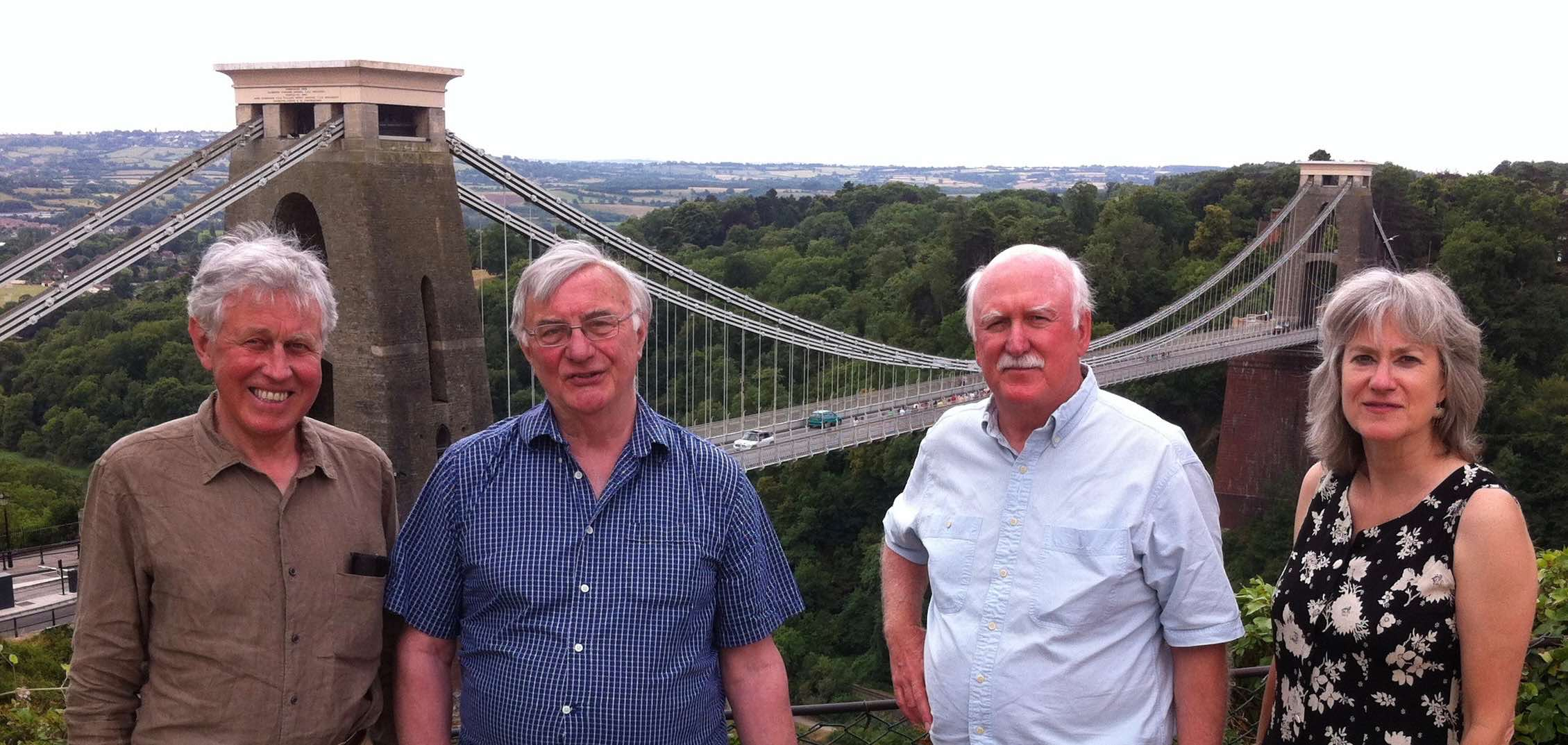 David, Norman and Jean with composer/writer Jan Swafford - at Clifton Suspension Bridge, Bristol, July 2013