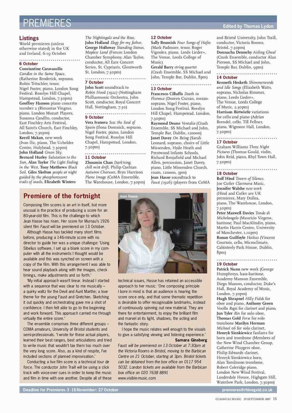 "Faust: ""Premiere of the fortnight"" in  Classical Music  magazine, Sept 2007. Click to enlarge."