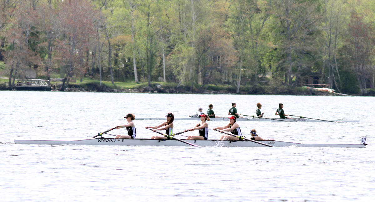 Scene from the Maine Youth Rowing Association Championship Regatta on May 25 on Chickawaukie Pond. Photo by Ken Waltz