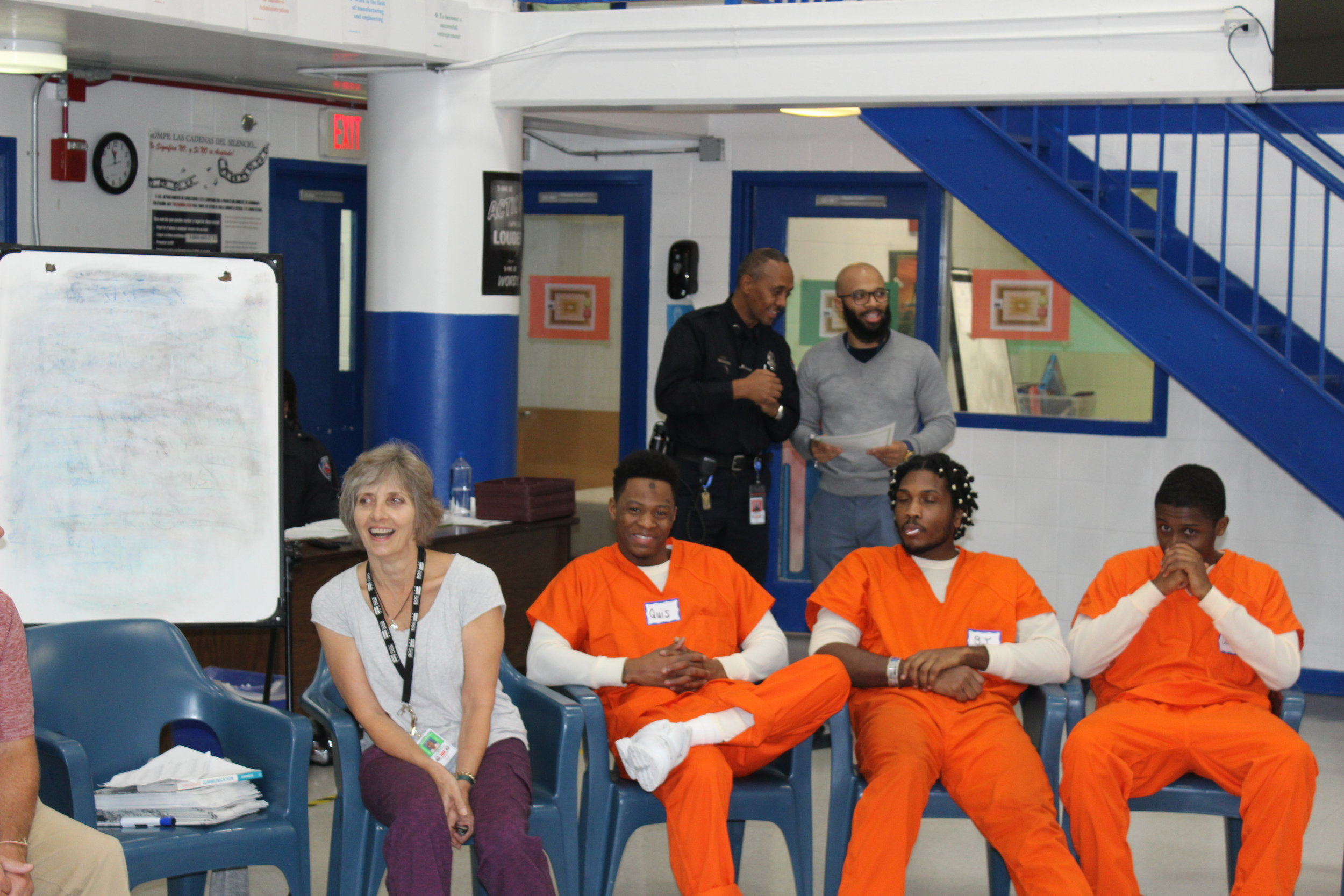 Program Director Carolyn Stachowski visits a class in the men's unit at the District of Columbia Central Detention Facility.