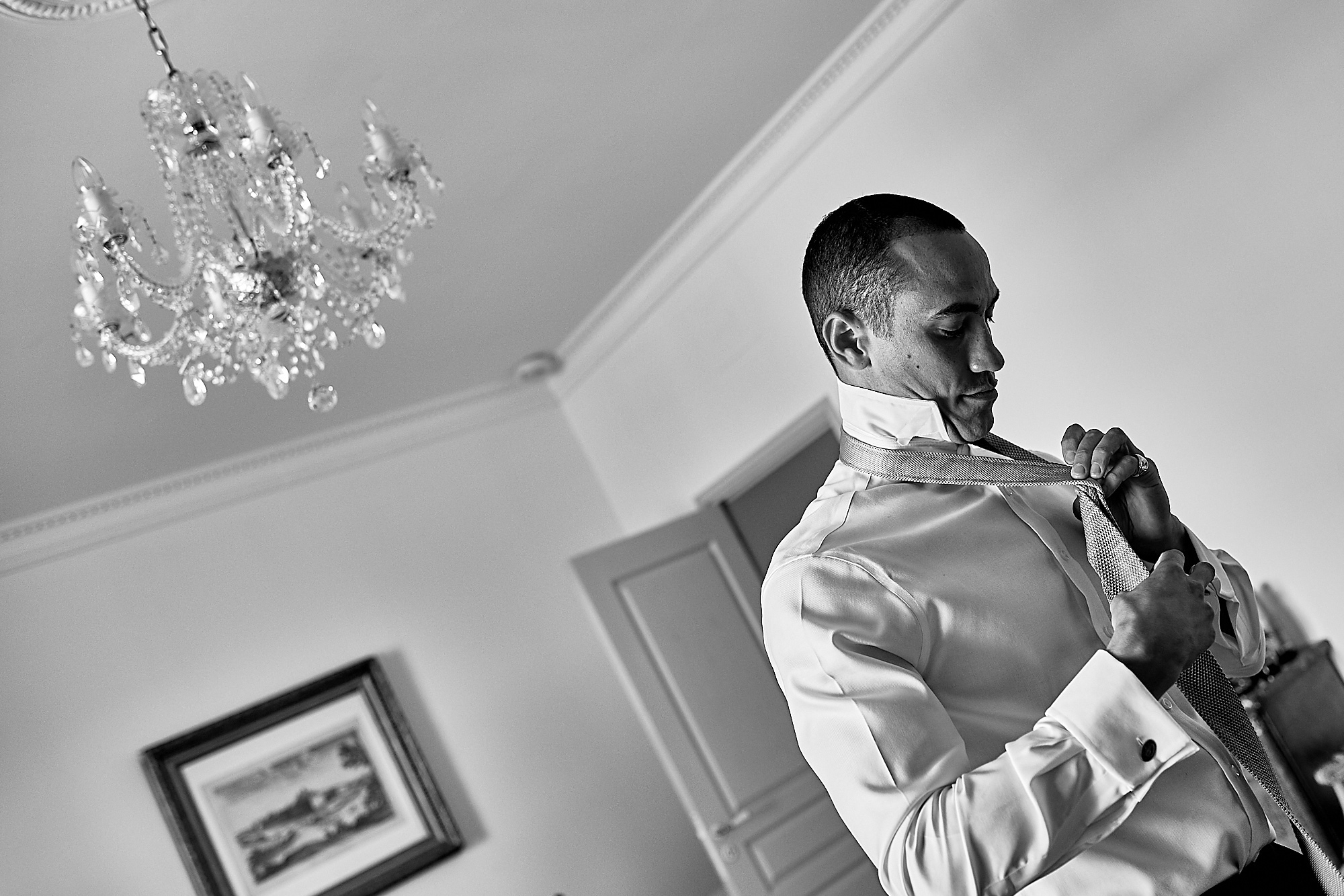 The groom getting ready - Wedding at Chateau la Durantie Dordogne, France. Wedding photographer in Clermont-Ferrand Bordeaux