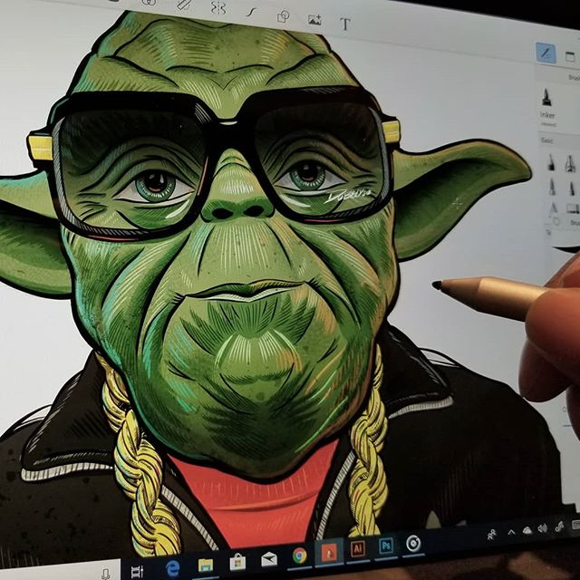 Trying out @autodesksketchbook  on a @surface.  Im diggin it pretty fun.  #fun #art # create #starwars #yoda #fanart #drawing #digitalpainting #work #picoftheday #hiphop #rundmc #classic #microsoftsurface