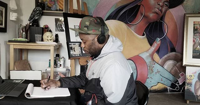 Gotta get back to work. Have a few shows coming up. #atlanta #nike @bose #studio #painter #creative #dope #creatives #picoftheday #photooftheday #drawing #Artist #goatfarm #microsoftsurface