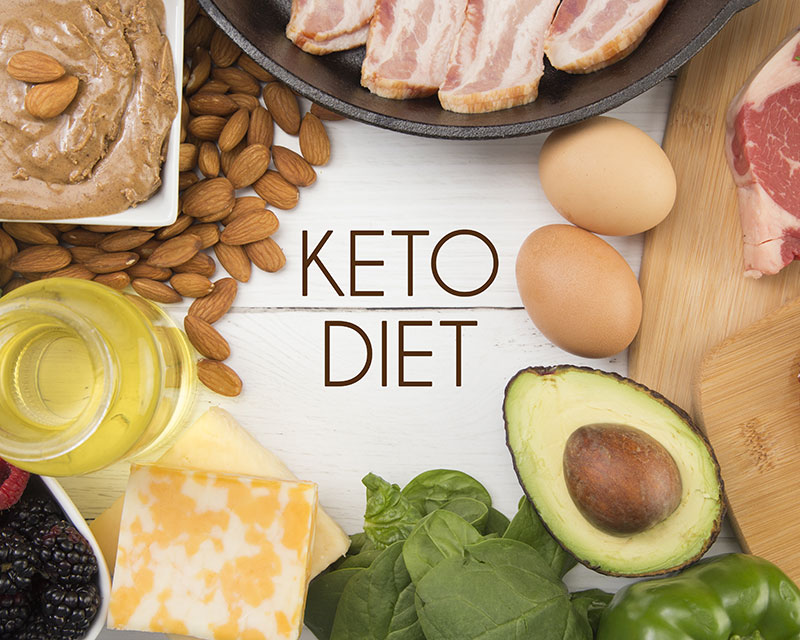 KETO food staples avocado, cheese, eggs, meat, almond butter, and spinach