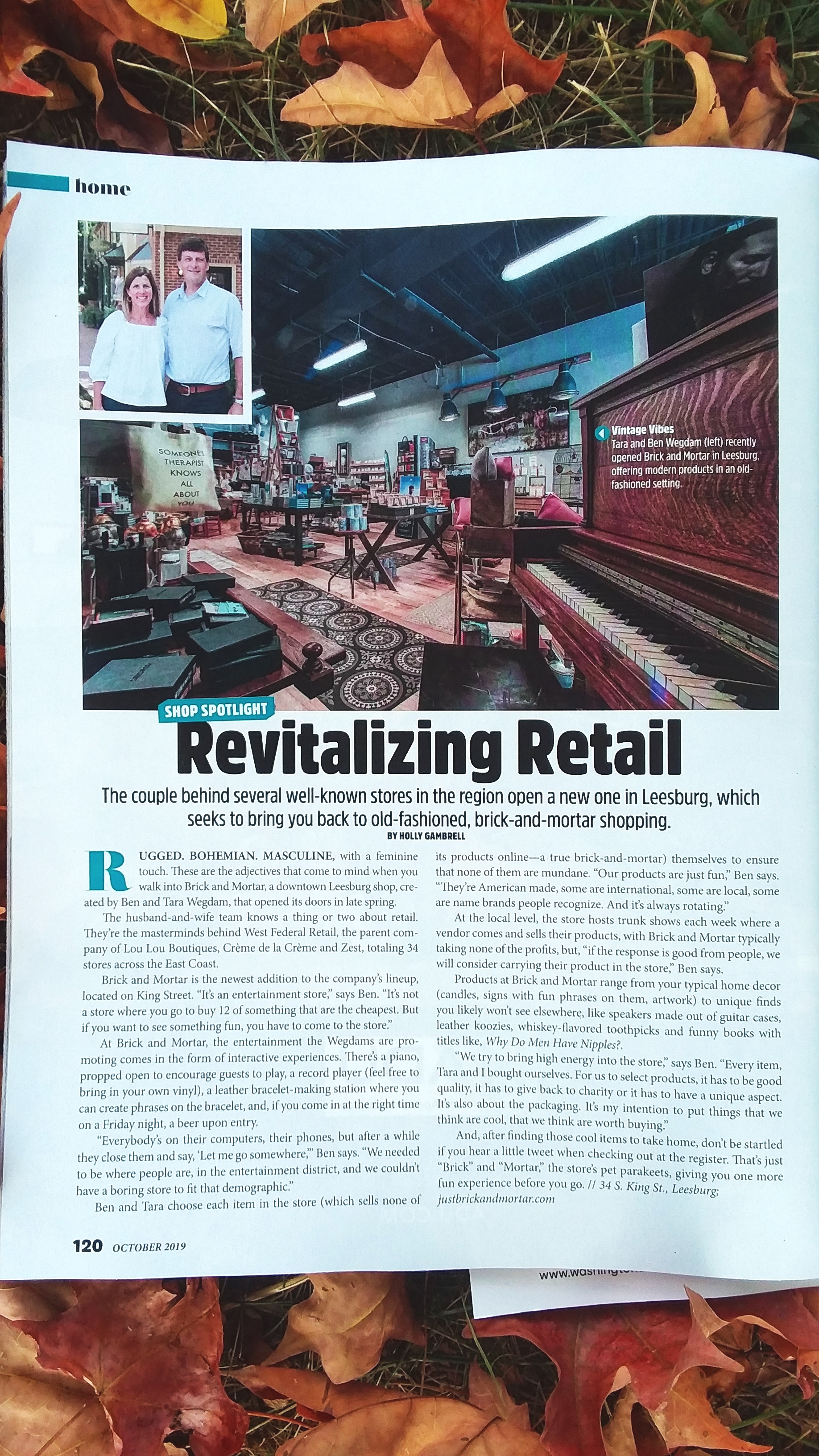 IN THE NEWS - We are honored to be featured in the October issue of Northern Virginia Magazine. Virginia will always be home and we are proud to be a part of the downtown Leesburg community. As stated in the article, it is our goal to bring high energy into the store and create a fun shopping environment that is unparallel in Northern VA.