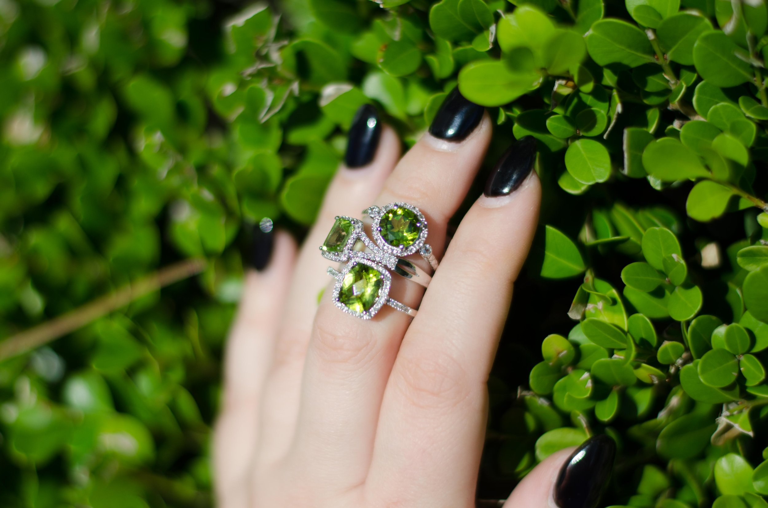 We have stunning peridot rings in a variety of shapes and sizes! They are so brilliant with their vibrant, summery green hues.
