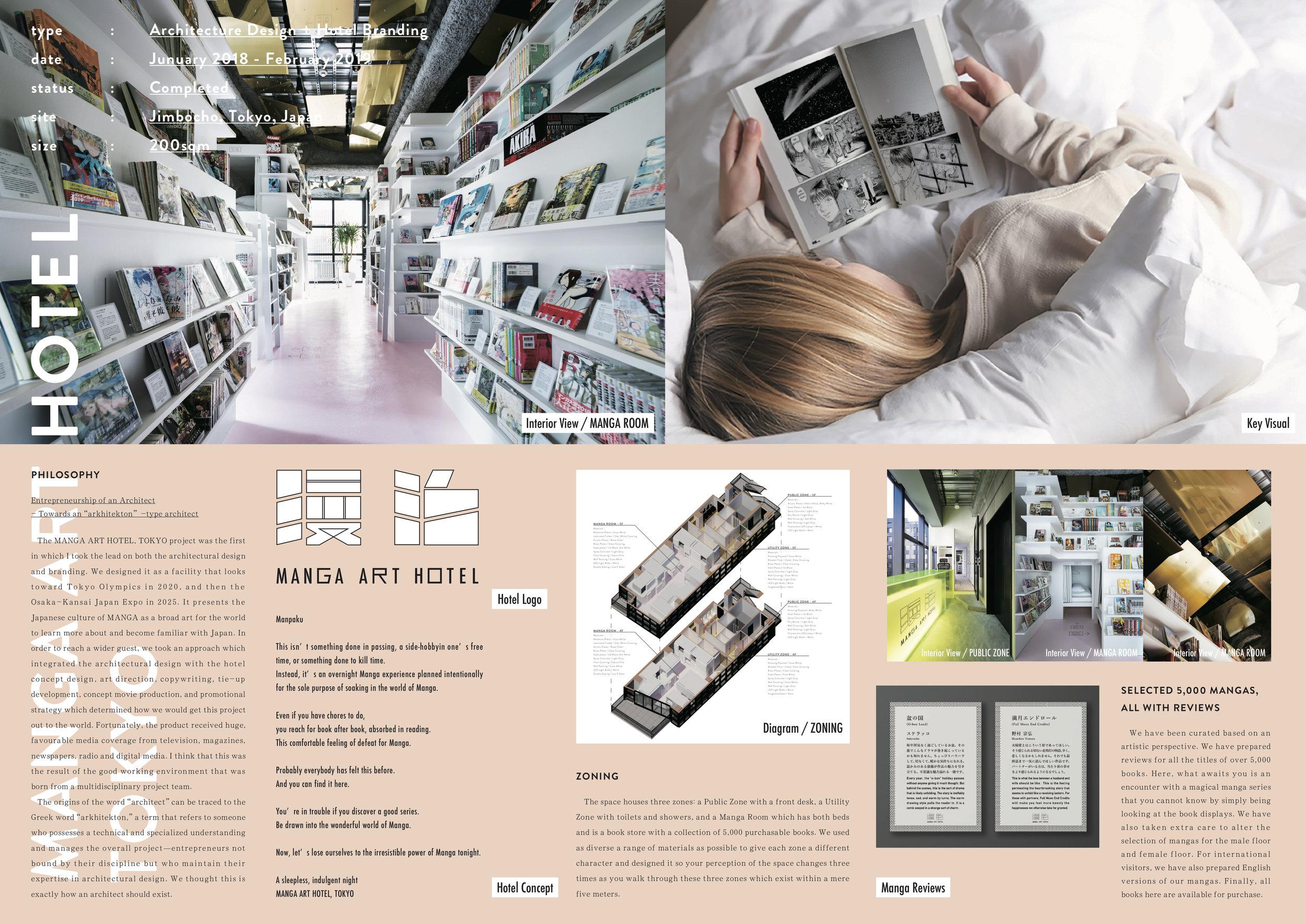 MANGA ART HOTEL, TOKYO - Design by: TAN YAMANOUCHI/ AWGLInterior Division: Hotel & ResortWebsite: https://awgl-inc.com/