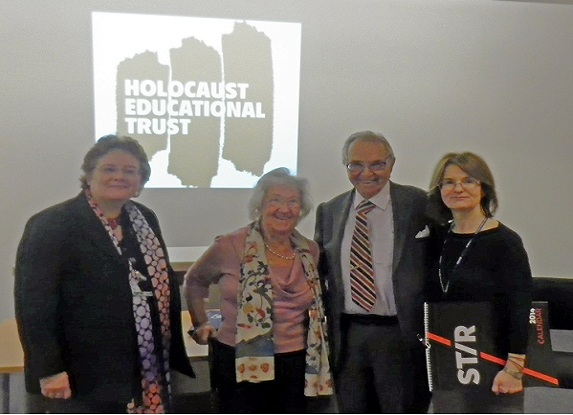 Nikki Cameron (left) and Ruth Fracchini (right) of the Low Moss learning centre, with two visiting Holocaust survivors