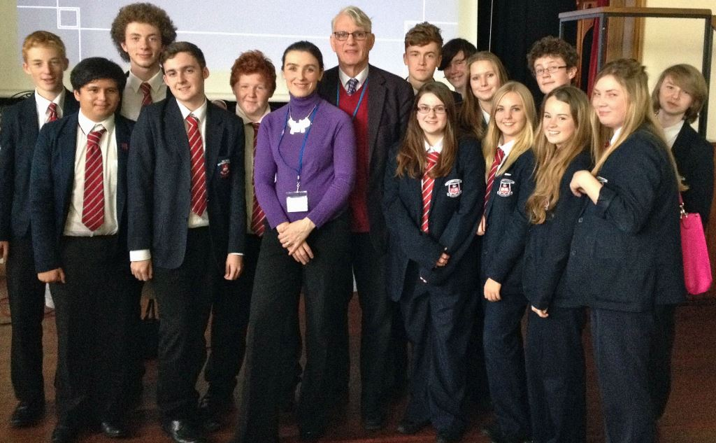 Charlotte and Peter Vardy with some students