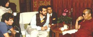 Daniel Goleman and Jon Kabat-Zinn with the Dalai Lama in the 1980s