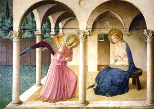 Fra Angelico's Annunciation, from a prayer-room in San Marco, Florence - each room has a different scene from Christ's life, to aid imaginative meditation