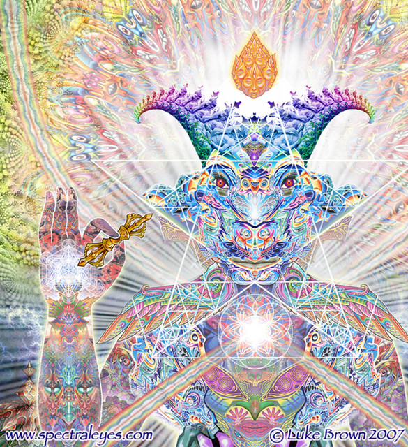 A DMT creature depicted by psychedelic artist Luke Brown