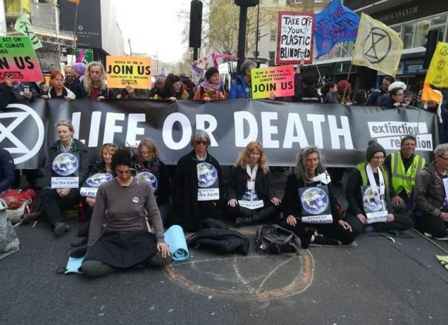 Meditators at the Extinction Rebellion protests