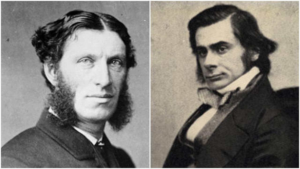 Matthew Arnold (left) and Thomas Huxley