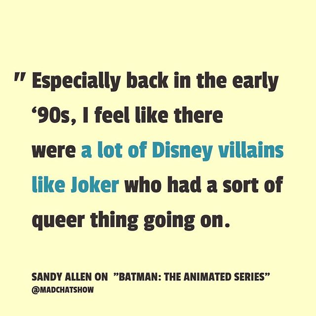 Joker is a very queer-coded character, as @hellosandyallen says on Ep 8 of #MadChatShow. Sandy and guest @Yassir_Lester discuss how the movies and shows they grew up with leaned on this trope of queerness-as-villainy. Listen in on Ep 8: BATMAN: The Animated Series, and subscribe on @applepodcasts (or wherever you get your pods!) ⚡️