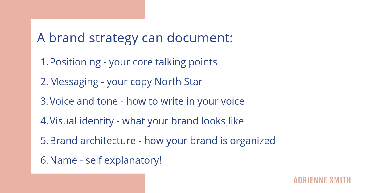 Brand strategy deliverables - adrienne smith consulting