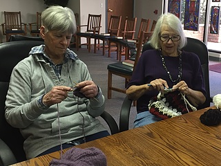St. Clare's Guild - St. Clare's Guild is a needlework ministry that meets on the third Saturday of the month in St. Francis Chapel from 10:45 to 12:15. During this time fingers fly as we knit, crochet, and do other types of needlework for the ministries of the church.