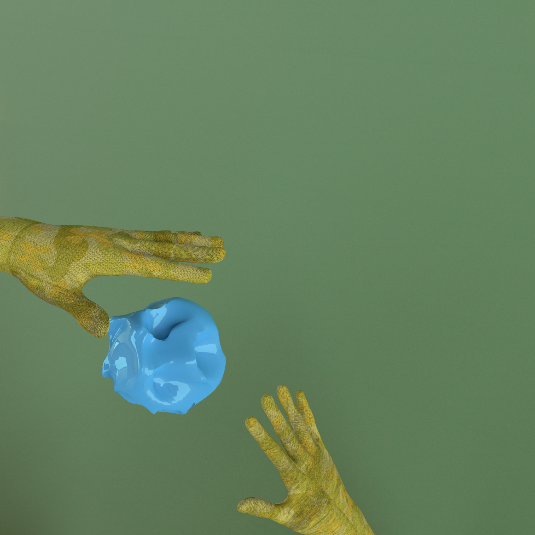 3d render of hand-clay connection