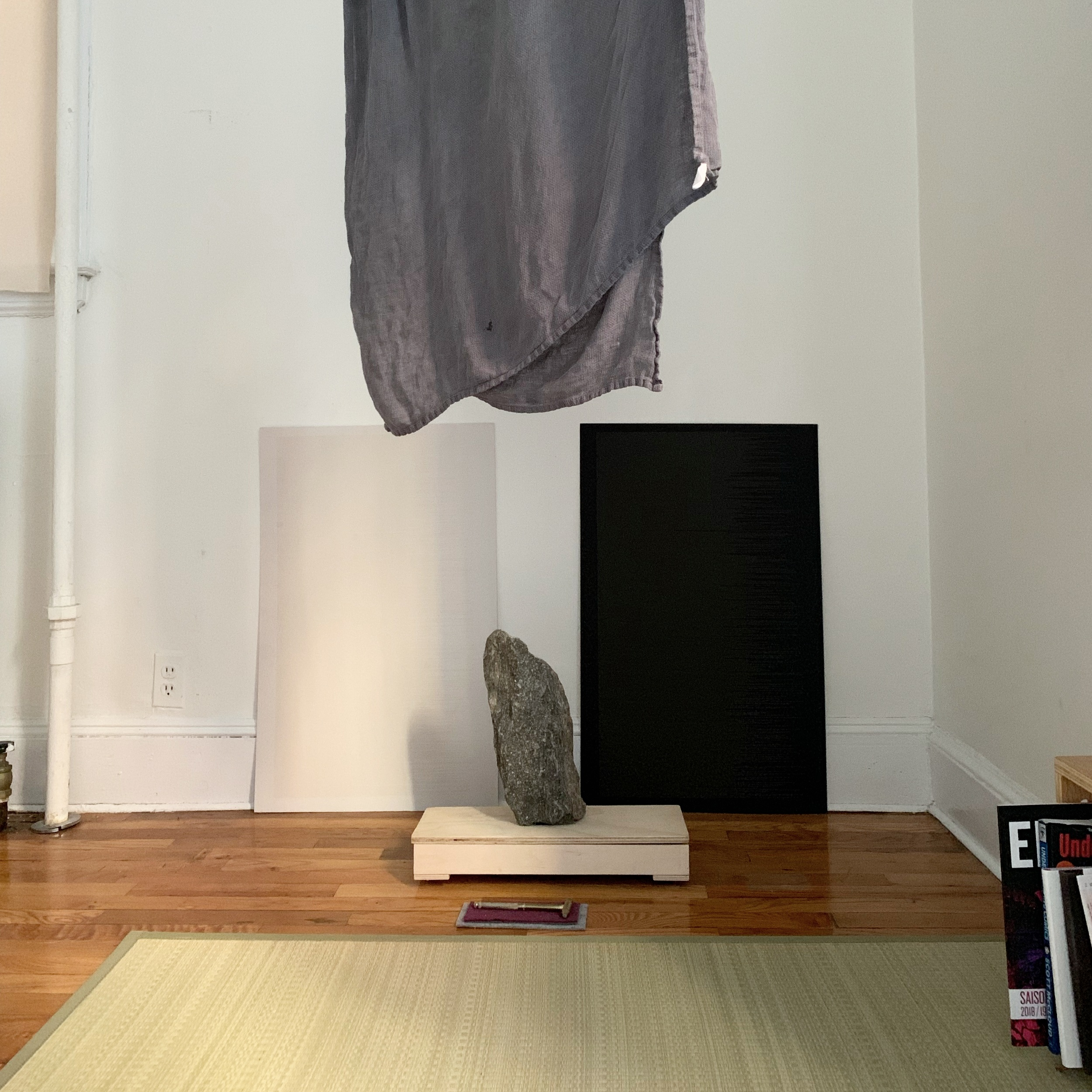 setup at my home as interactive sculpture for daily meditation