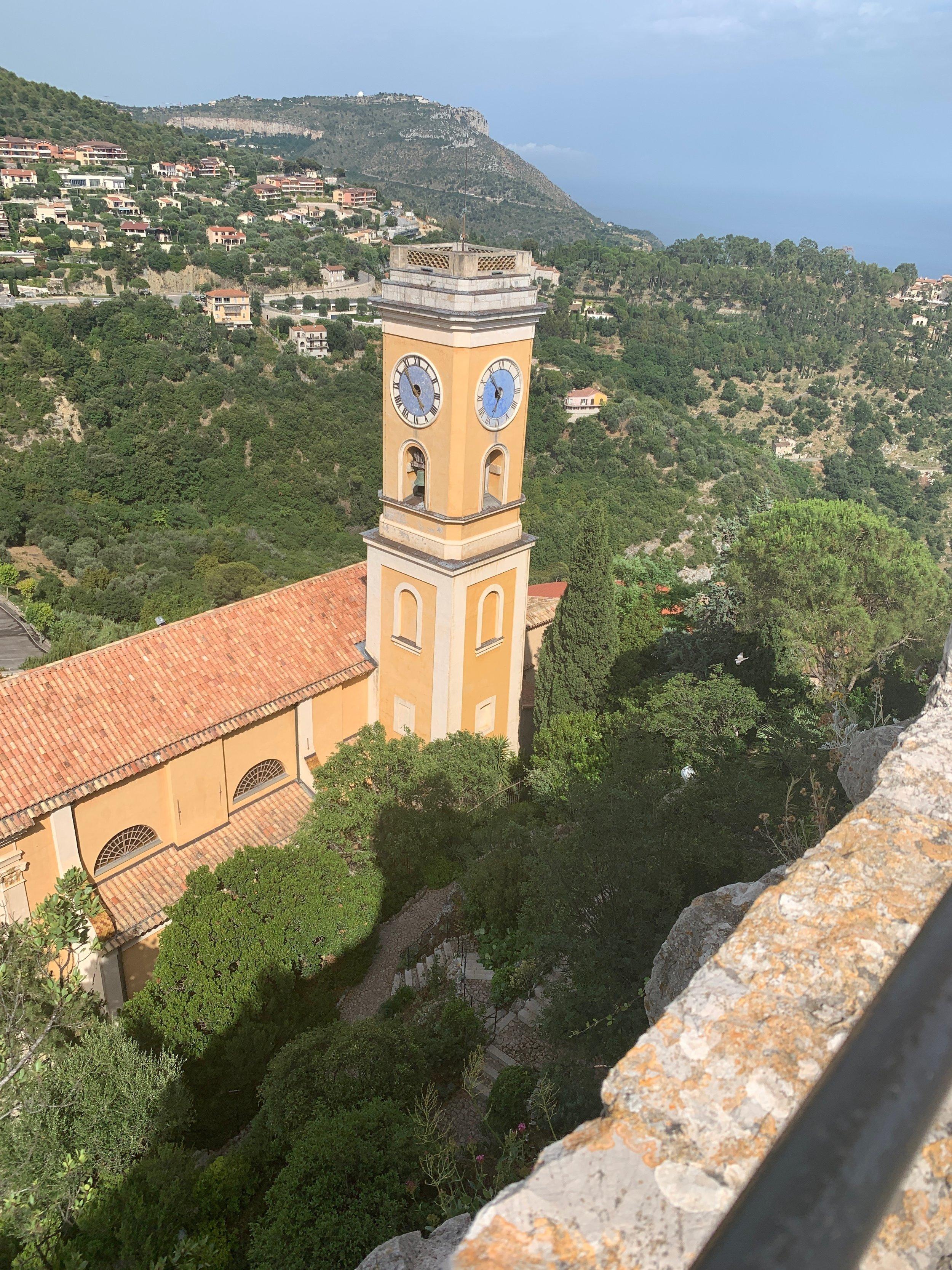 clock tower at the Catholic church