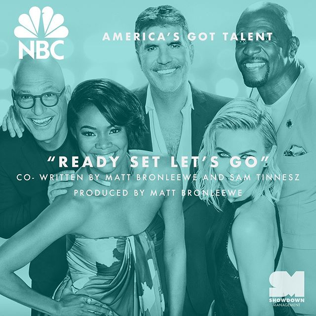 """We're so excited @mattbronleewe and @samtinnesz are showcasing their talent on @agt tonight! 😉 Listen for """"Ready Set Let's Go"""" on tonight's episode on @nbc!"""