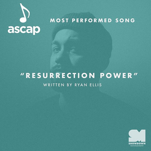 "Congratulations to @ryanellis on winning an @ascap award for most performed song of 2018! Ryan wrote ""Resurrection Power"" performed by @christomlin. 🎉🎉🎉🎉"